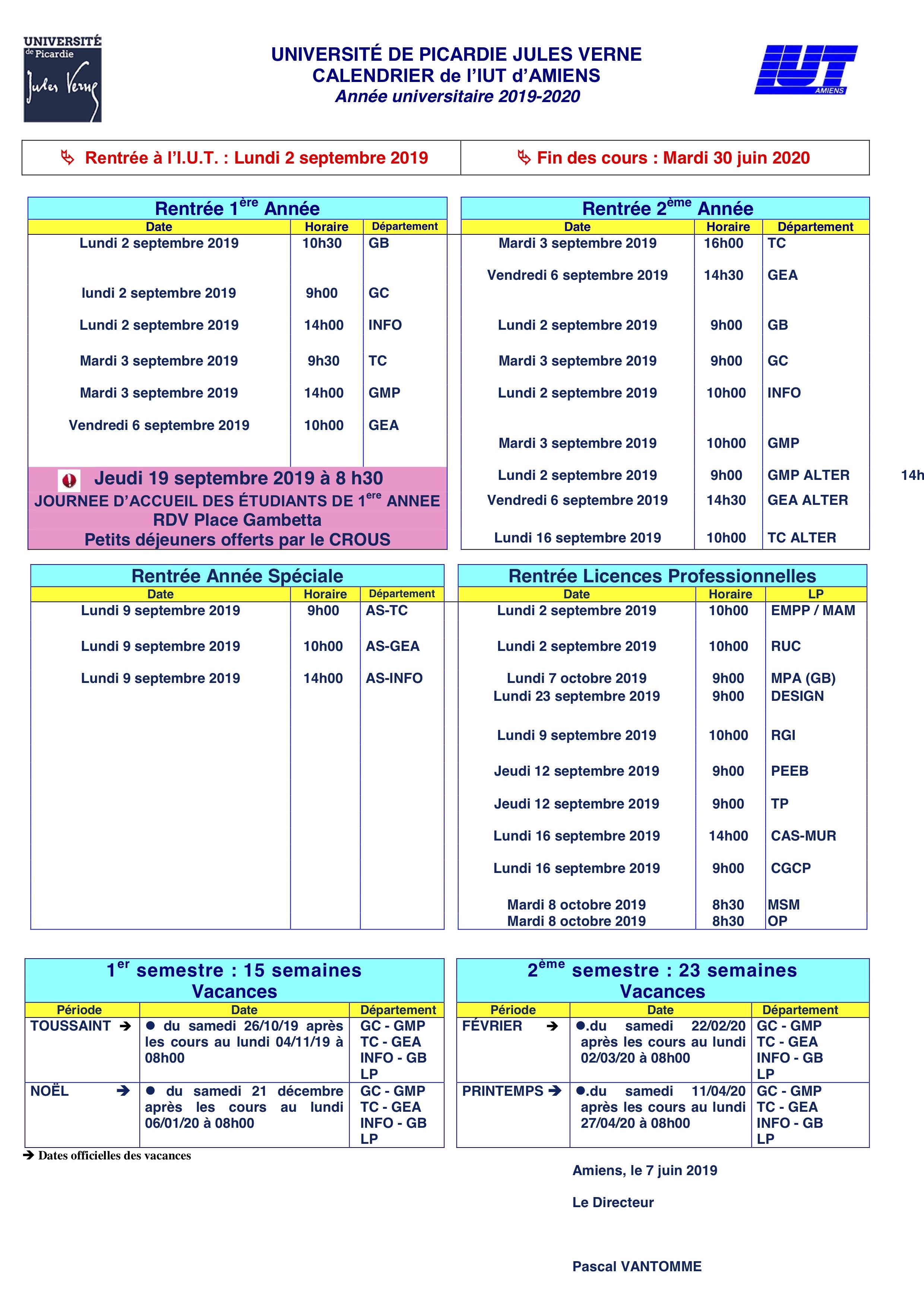Calendrier 2019 2eme Semestre.Calendrier Iut Amiens